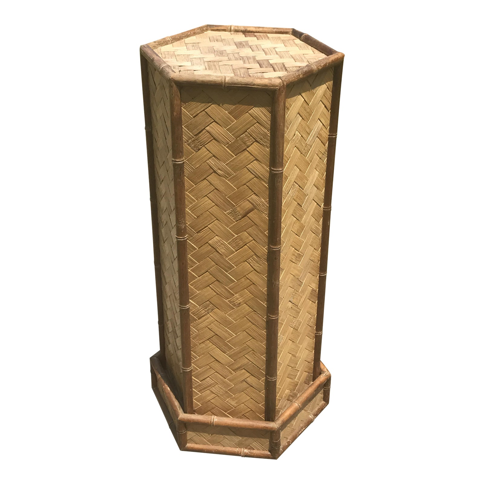 f01931138d0c Rolling Woven Bamboo Pedestal Plant Stand   Chairish