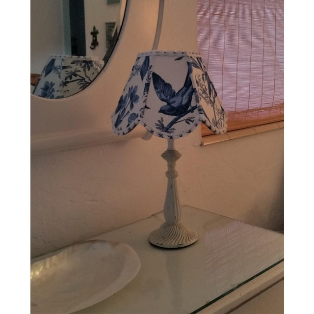 Blue White Toile Floral Clip On Lamp Shade For Sale - Image 9 of 11