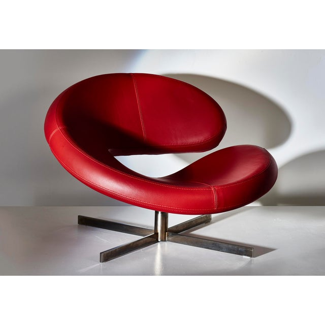 Nuage Swivel Chair by Parisian based Roche Bobois Designed by Italian designer and architect Robert Tapinassi with...