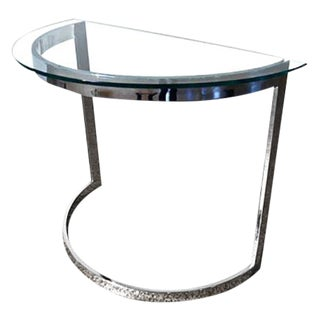 Milo Baughman Chrome/Glass Demi Lune Table