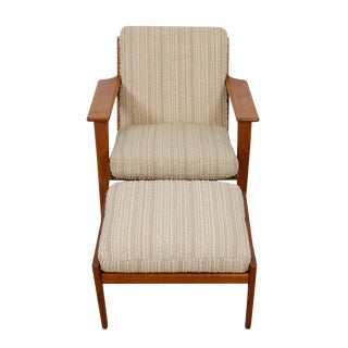 Hans Wegner For Getama Lounge Chair & Ottoman For Sale