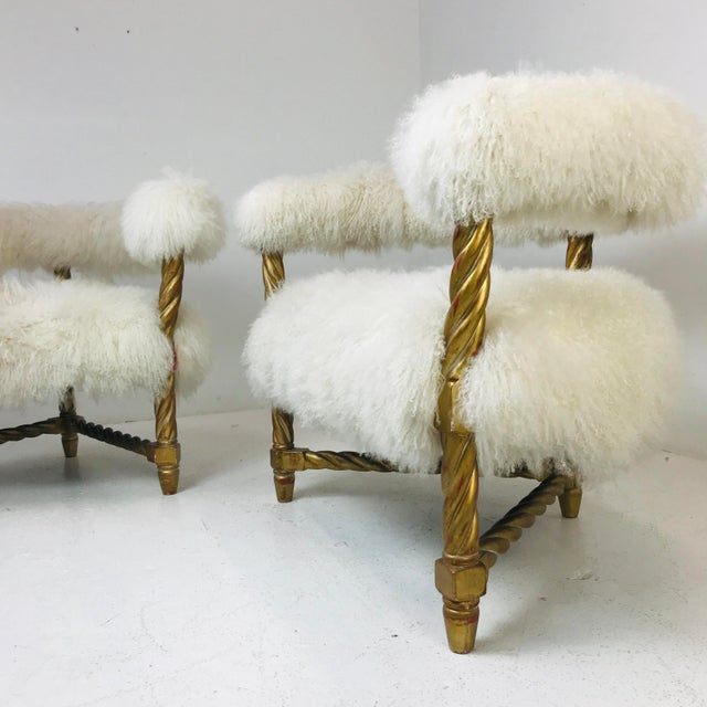 Hollywood Regency Pair Mongolian Lamb Chairs For Sale - Image 3 of 6
