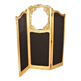 Late 19th Century French Louis XVI Style Three-Fold Gilt-Wood Floor Screen For Sale