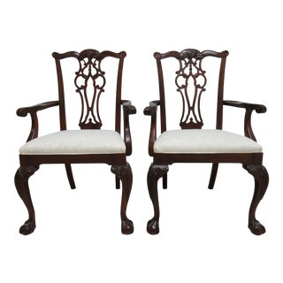1990s Vintage Ethan Allen 18th Century Chippendale Style Dining Chairs - A Pair