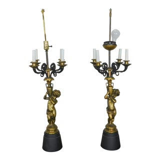 Neoclassical Louis XVIII Brass & Iron Cherub Figural Sideboard Table Lamps - a Pair For Sale
