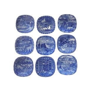 Vintage Julen Rorstrand Sweden Delft Blue Faiance Wall Plates - Set of 9 For Sale