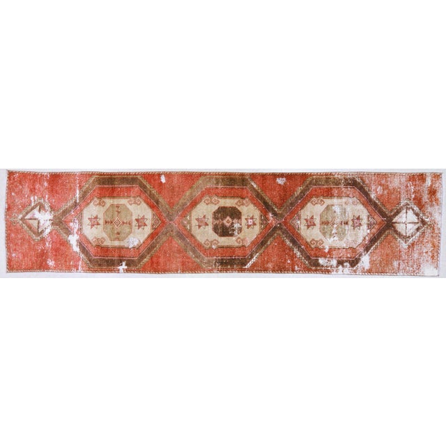 """Textile 1950s Boho Chic Brick Red and Brown Wool Kurdish Runner - 3'2""""x13'6"""" For Sale - Image 7 of 7"""