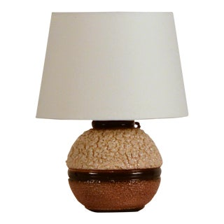 Art Deco Boule Textured Ceramic Lamp For Sale