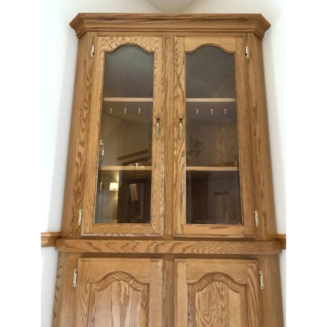 Solid Oak Corner Display Cabinet For Sale - Image 4 of 12
