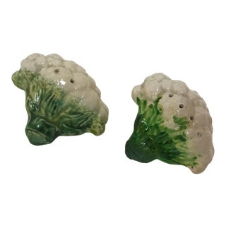 "Vintage Ceramic Vegetable Salt and Pepper Shakers ""Cauliflower"" - a Pair For Sale"