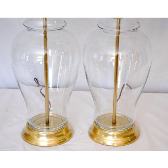 Asian Vintage Glass Ginger Jar Lamps - a Pair For Sale - Image 3 of 4
