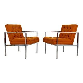 Mid-Century Modern Tufted Flat Bar Chrome Armchairs - A Pair For Sale