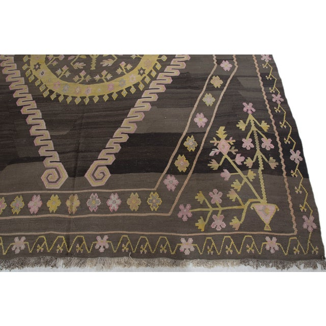 Turkish Primitive Large Kilim Rug - 9′7″ × 10′5″ - Image 5 of 10