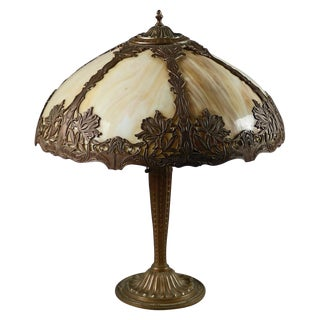 Antique Arts & Crafts Stylized Floral Slag Glass Lamp by Bradley & Hubbard C1920 For Sale