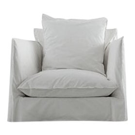 Armchair Ghost White Linen Sofa Chair For Sale