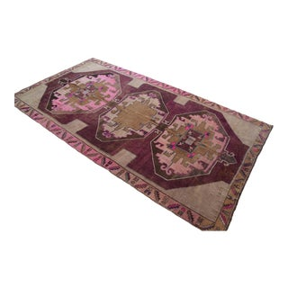 Hand Knotted Kurdish Tribal Rug Low Pile Pink Rug- 6′9 ″ X 12′4″ For Sale
