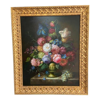 Framed Floral Bouquet Still Life Oil Painting For Sale