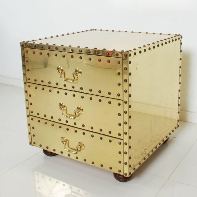 1970s Mid-Century Sarreid Spain Studded Brass Chest Three Drawer Nightstand For Sale - Image 5 of 8