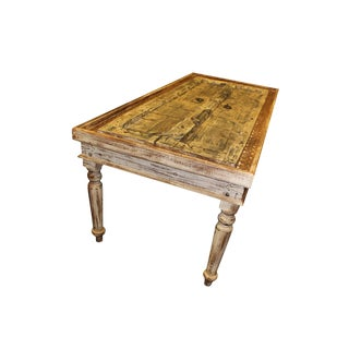 1920s Rustic Reclaimed Solid Wooden Dining Table For Sale