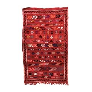 Berber Wool Flatweave Rug - 3′ × 4′10″ For Sale