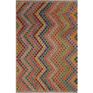 Abstract Kilim Moham Rust Hand-Woven Wool Rug - 6′8″ × 9′9″ For Sale