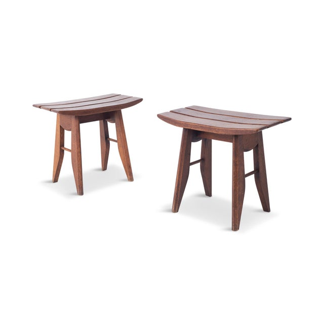 Wabi Sabi pair of stools in oak by Guillerme et Chambron for Votre Maison, made in France. These stools have a japonesque...