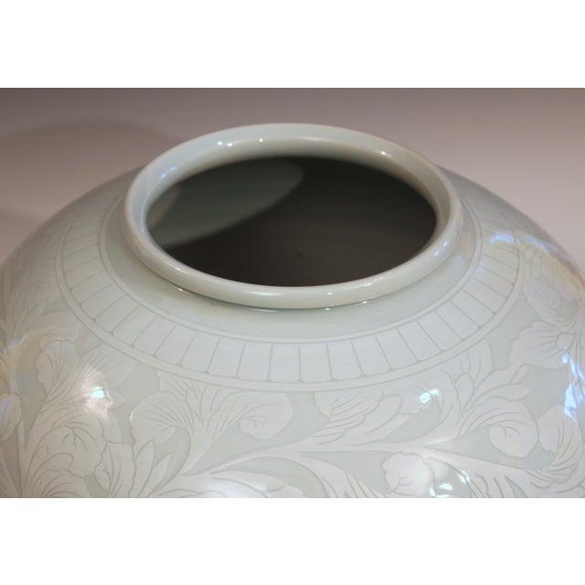 2000 - 2009 Korean Studio Porcelain Large Moon White Vase Carved Slip Peony Scroll Jar For Sale - Image 5 of 7