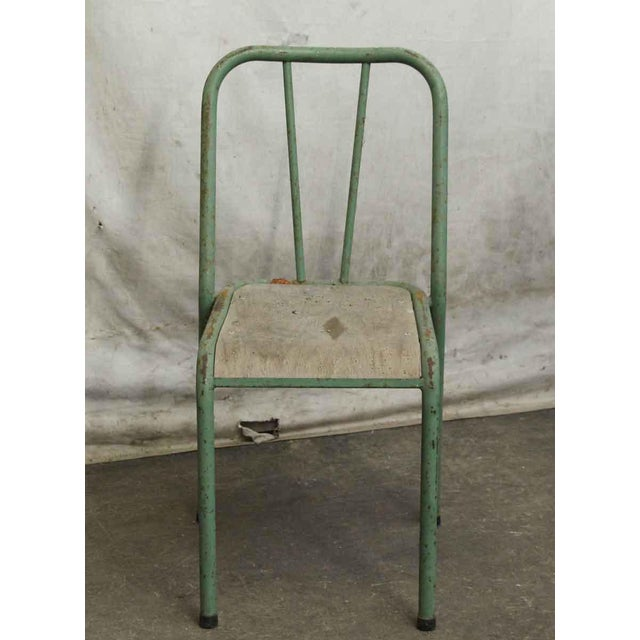 Industrial Reclaimed Imported Green & White Steel School Chairs - Set of 3 For Sale - Image 3 of 5