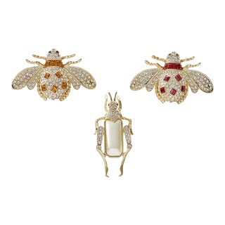 Jeweled Insect Clip Set - Set of 3 For Sale
