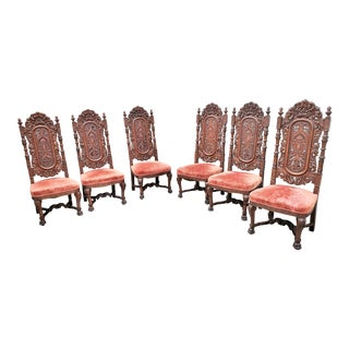 Antique American Renaissance Revival Carved Oak Tall & Ornate Dining Chairs- Set of 6 For Sale