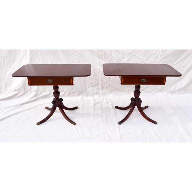 Mahogany Pembroke Tables With Inlay Detail, Pair For Sale - Image 10 of 13