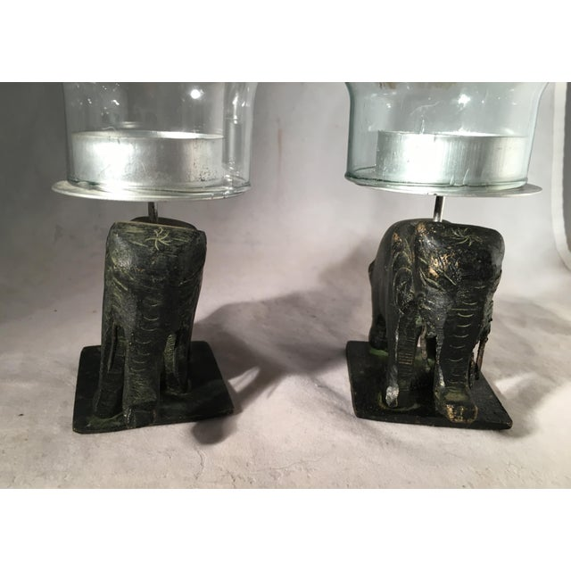Pair of Indonesian Elephant Hurricane Candle Holders - Image 4 of 7