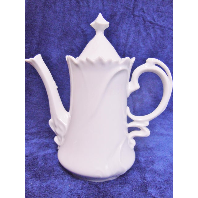 Floral White Porcelain Teapot For Sale - Image 4 of 6