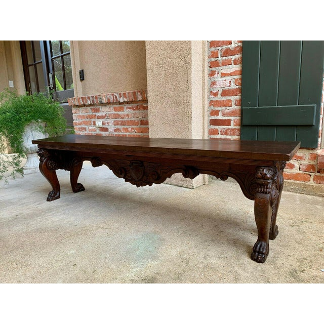 Antique Italian Carved Walnut Renaissance Revival Bench Ottoman. Direct from Italy. Extra-long antique Italian carved...