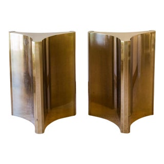 1970s Modern Mastercraft Trilobi Brass Dining Table Bases - 2 Pieces For Sale