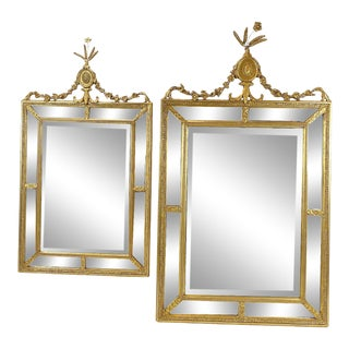 20th Century Large Carved Gilt Neoclassical Mirrors - a Pair For Sale