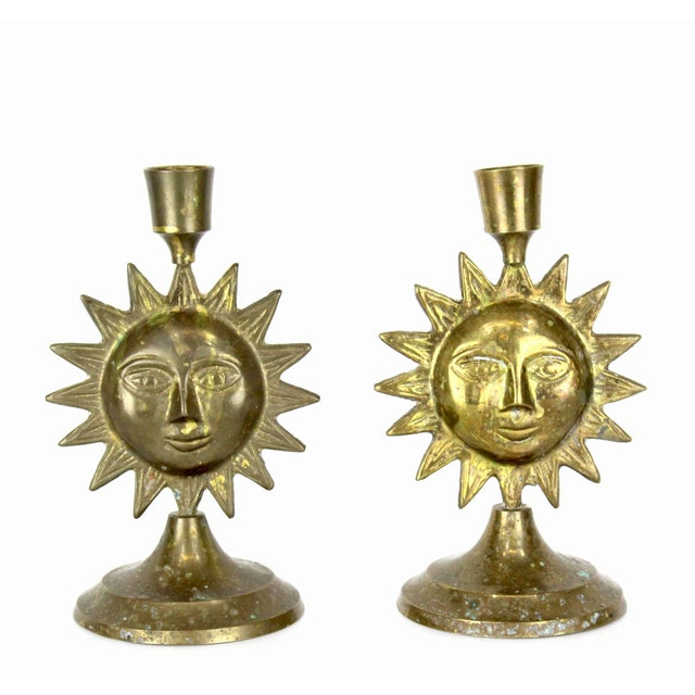 Mid-Century Modern Pair of Brass Sun Candleholders For Sale - Image 3 of 3