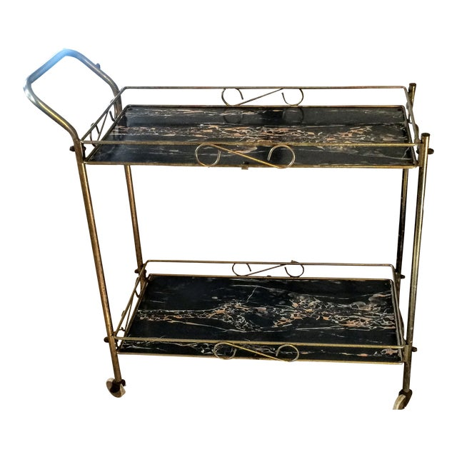 Mid-Century Modern Brass & Marble Rolling Bar Cart - Image 1 of 11