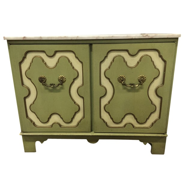 Vintage Green & White Cabinet - Image 1 of 9