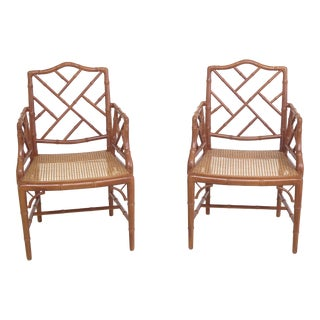 1990s Vintage Faux Bamboo Style Cane Seat Arm Chairs- A Pair For Sale