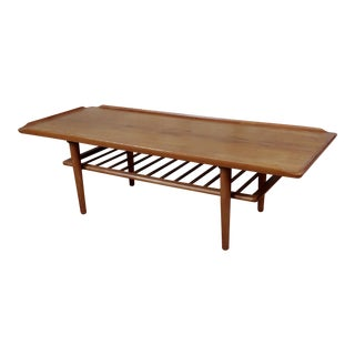 1960s Mid-Century Modern Holger Georg Jensen for Kubus Danish Teak Coffee Table W/ Magazine Rack For Sale