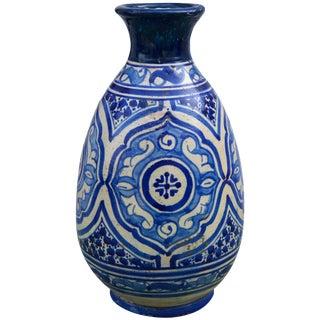 Blue Moorish Ceramic Vase For Sale