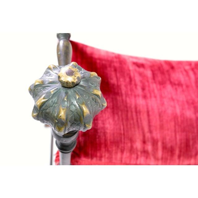 Large Iron and Bronze Savonarola Faldistorio Curule Bench For Sale - Image 4 of 7