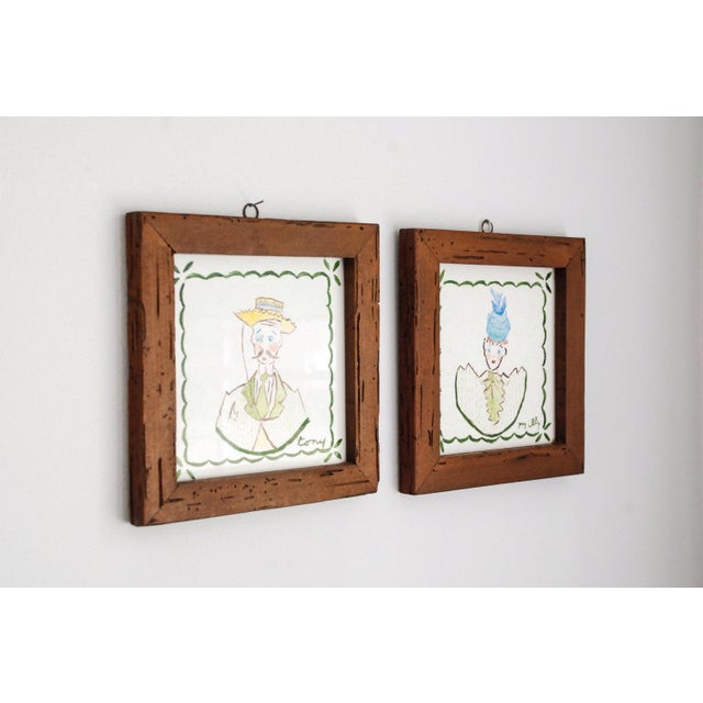 Mid Century Villeroy & Boch Hand Painted Ceramic Framed Wall Tiles - A Pair For Sale - Image 5 of 6