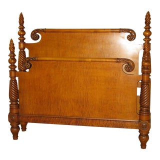 1950s Vintage Maple Full Size Headboard & Footboard For Sale