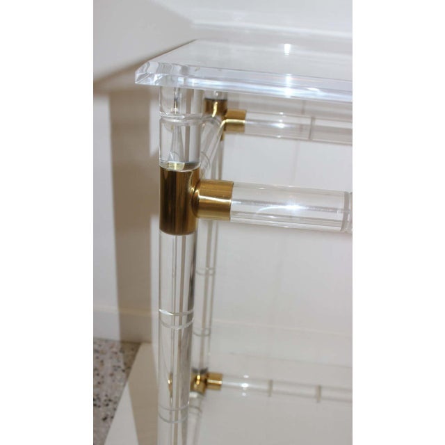 Charles Hollis Jones Lucite and Brass Console Table by Charles Hollis Jones For Sale - Image 4 of 13