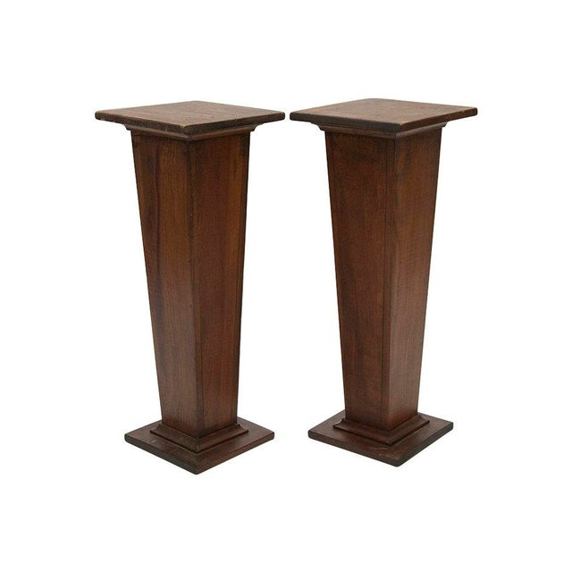 Wood EARLY 1900'S HAND CARVED WOODEN PEDESTALS For Sale - Image 7 of 7