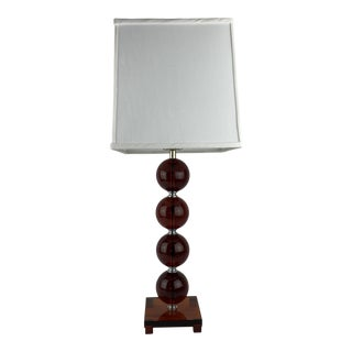 English Vintage Amber Glass Lamp For Sale