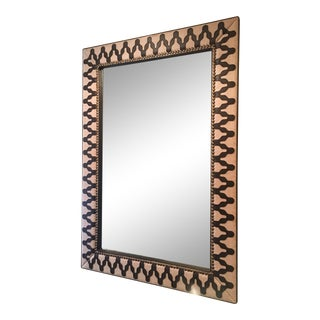 Arteriors Ishtar Linen & Leatherette Detail Mirror With Brass Nailheads For Sale