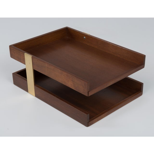 Vintage Mid Century Brass Walnut Office Two Tier Letter Tray Organizer For Sale - Image 11 of 11